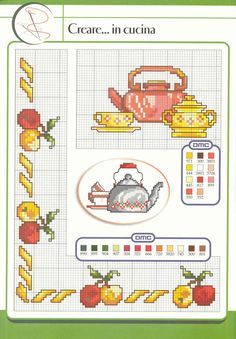 Kitchen pattern / chart for cross stitch, crochet, knitting, knotting, beading, weaving, pixel art, and other crafting projects.