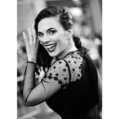 Hayley Atwell ❤ liked on Polyvore featuring black and white, hayley atwell and pics