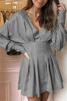 Grey Patchwork Pleated Draped Dolman Sleeve Going out Party Mini Dress Simple Dress Casual, Simple Dresses, Casual Dresses, Short Dresses, Maxi Dresses, Awesome Dresses, Elegant Outfit, Wedding Dresses, Dress Skirt