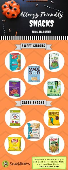 Want to be sure you're buying allergy friendly Halloween snacks and class party goodies? Here are the lists you need! Healthy Snacks To Buy, Healthy Halloween Snacks, Healthy Kids, Halloween Treats, Healthy Weight, Healthy Food, Salty Snacks, Fruit Snacks, Sports Snacks