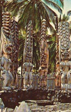 Hawaiian Tikis At City Of Refuge From: Vintage Hawaiʻi