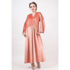 Vintage Halston IV Dorian caftan / 1970s Pink Rose gold velvet lounge wear maxi dress / Deep V with front slit / One Size