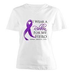 I Wear a Ribbon For My Hero Sarcoidosis shirts, apparel and gifts #sarcoidosis #sarcoidosisawareness #sarcoidosistshirts