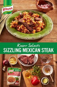 Sizzling steak meets new flavorful Knorr® Selects Rustic Mexican Rice & Beans, a gluten-free rice dish made with no artificial flavors or preservatives. We especially love the extra dimension of flavor from the tangy, quick-pickled onions and cilantro. Dig in!