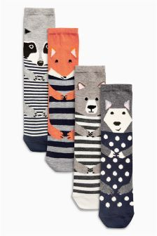 Woodland Animals Ankle Socks Four Pack