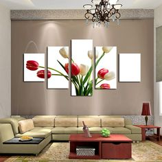 Home Design Drawing TEEPEAT Canvas Medium / Unframed Beautiful Tulips Flower - 5 Piece Canvas Painting - Two Options: No Frame Means Print Only Frame comes stretched, framed, and ready to hang! Contemporary Decor, Modern Decor, Living Room Paint, Living Room Decor, Dining Room, Room Colors, Wall Canvas, Canvas Art, Wall Art