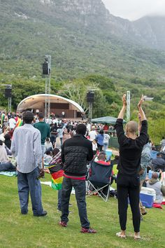 "4/4 - The setting and atmosphere at Kirstenbosch Summer Sunset Concerts are always unbelievable. Clouds were floating off table mountain into the valley. One of the greatest end of year office parties we've ever had :D. Go to ""Visit Site"" to see what we're up to at the moment. Table Mountain, Office Parties, Summer Sunset, End Of Year, Concerts, How To Introduce Yourself, Dolores Park, Clouds, In This Moment"