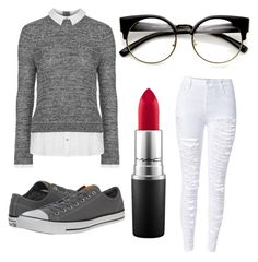 """Untitled #39"" by my-names-ella on Polyvore featuring Topshop, MAC Cosmetics and Converse"