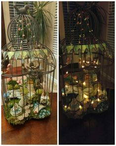 Fairy Garden in a Birdcage with LED lights! I bought everything from Joanne's Fabric. I LOVE the birdcage and the lights!