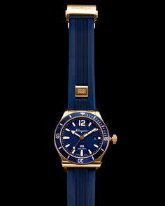 Salvatore Ferragamo 1898 Rubber-Strap Sport Watch, Blue, Women's, NAVY