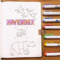 Bullet journal monthly cover page, November cover page, geometric art. @rainne_bujo