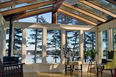 Beautiful sunroom with stunning views of the lake. Gable-style sunroom with insu. - Beautiful sunroom with stunning views of the lake. Gable-style sunroom with insulated glass. Four Season Sunroom, Three Season Porch, Outdoor Rooms, Outdoor Living, Gazebo, 3 Season Room, Sunroom Addition, Decks And Porches, Screened Porches