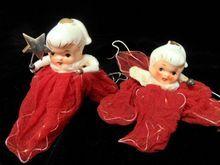 2 Ponytail Holt Howard Porcelain Head Christmas Angels