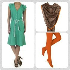 Friday favourites! Åh Christel kjolen ❤ total yndlings kjole i lækker grøn denim. Leg med farverne og dress den op med orange tights fra Oroblu og et uundværlig tørklæde, her det fine Cubitos.