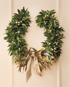 """""""Laurel Wreath"""" for Christmas with metallic berries and ribbon"""