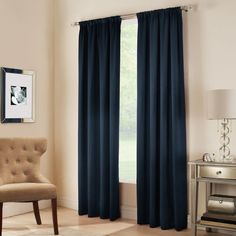 Midtown Rod Pocket 84-Inch Window Curtain Panel in Night Sky