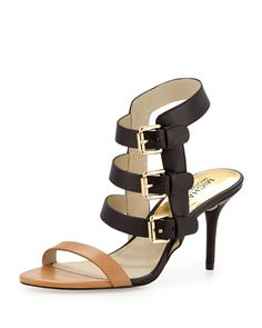 Beverly Buckle-Strap Leather Sandal, Peanut/Black, Size: 37.5B/7.5B - MICHAEL Michael Kors