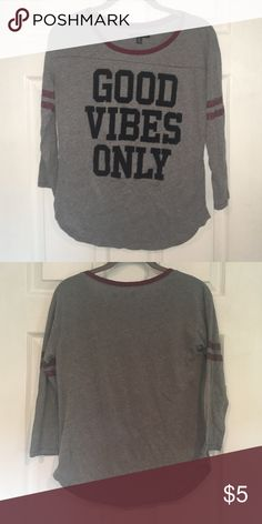 """""""Good Vibes Only' American Eagle 3/4 Tee """"Good Vibes Only' American Eagle 3/4 Tee. Good condition. Worn washed few times. Baseball comfy fit. American Eagle Outfitters Tops"""