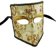 Men's Bauta Mardi Gras Venetian Masquerade Mask - Gold Lining