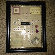 For grandmas birthday. Children and grandchildren names with scrabble letters. Embellished with scrapbook pieces.