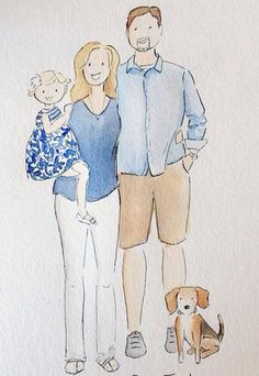 Custom Watercolor Portrait Family of 3 with by LoveDesignStudio