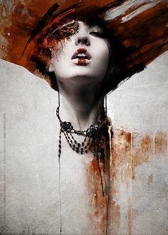 mixed media art portraits of women | kubicki woman portrait digital art mixed media painting design ...