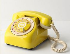 yellow retro phone. not practical but definitely fun.