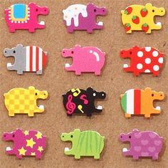 cute tiny colourful hippos stickers from Japan