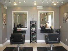 I love the grey and lighting. Mirrors and shelf unit is nice too | home nail salon decorating ideas | nail technician room ideas