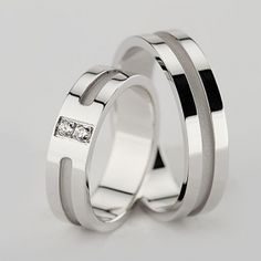 White Gold Satin Flat Channel Ladies And Mens Wedding Rings Carat Round Diamond 02311 Silver Wedding Bands, Matching Wedding Bands, Unique Wedding Bands, Wedding Band Sets, Wedding Rings, Solid Gold, White Gold, Pandora, Rings For Her