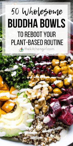 50 Buddha bowl ideas for breakfast, lunch, or dinner with endless, plant-based combinations. The perfect way to recharge after a break in your routine. Plant Based Diet Meals, Plant Based Whole Foods, Plant Based Eating, Plant Based Recipes, Plant Based Eggs, Whole Food Recipes, Healthy Recipes, Vegan Bowl Recipes, Beef Recipes