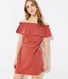 123c05fb570ce LOFT Beach Ruffled Off The Shoulder Dress - Indulge in globetrotter flair  for your getaway (or any warm-weather day!) with this femme ruffled ...