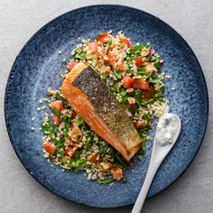 Salmon is best cooked mediumrare. Make sure you pat salmon dry with paper towels, taking extra care to check for any remaining pin bones. Onion Relish, Pickled Red Onions, Paper Towels, Baby Spinach, Bones, Salmon, Dinner Recipes, Mint, Bulgur