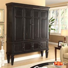 """Share and Save $5 Off Any Order Over $99. (excludes a few products) Parker House Venezia 70"""" TV Entertainment Armoire in Vintage Burnished Black #dynamichome"""