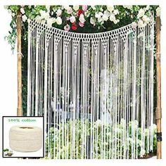 Pantaknot Bohemian Macrame Wall Hanging Wedding Backdrop Window Curtain BedHead Arch Large, W x L Hanging Room Dividers, Room Divider Doors, Curtain Rings With Clips, Curtain Clips, Curtain For Door Window, Door Curtains, Large Macrame Wall Hanging, Tapestry Wall Hanging, Bay Window Dressing