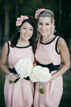 pink and black bridesmaid ideas
