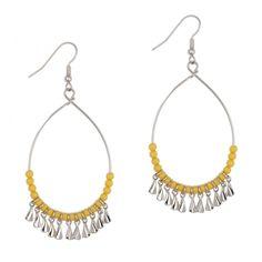 Boucles d'oreilles anneaux perles jaunes et breloques