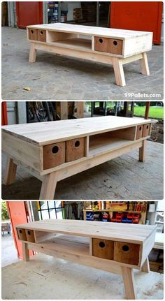 Teds Wood Working - Retro Pallet TV Stand with Mini Drawers Diy Pallet Projects, Furniture Projects, Furniture Making, Wood Projects, Diy Furniture, Furniture Design, Pallet Ideas, Wood Ideas, Diy Ideas