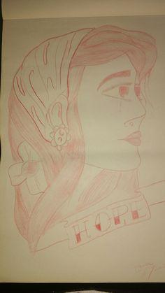 Mujer y listón- boceto 5