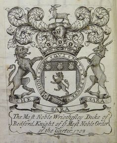 Armorial bookplate of Wriothesley Russell (1680–1711), 2nd Duke of Bedford (E 1694).