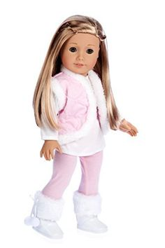 Snowflake - 4 piece outfit - leggings, long sleeve tunic, vest and boots - 18 Inch American Girl Doll Clothes (doll not included)  Price : $26.97 http://www.dreamworldcollections.com/Snowflake-leggings-American-Clothes-included/dp/B00CYXXF4Y