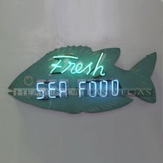 "neon sign - fresh seafood 50"" x 23"""