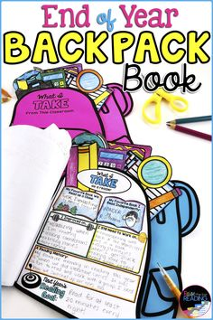 These Backpack Books are the perfect End of Year activity to end your school year with a bang! This memory book fosters reflection and goal setting for your kids in science, reading, writing, math, social studies, and more. They can be displayed on a bulletin board in your classroom or door and sent home as a keepsake of their year. These end of year activities are great for second grade, third grade, fourth grade and fifth grade. #endofyear #endofyearactivities #teaching