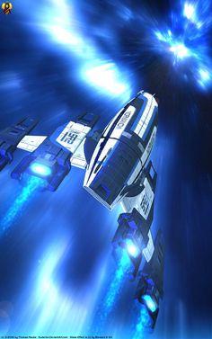 Normandy FTL Jump by Euderion on DeviantArt Mass Effect Ships, Mass Effect Art, Stargate, Mass Effect Characters, Mass Effect Universe, Best Rpg, Spaceship Art, Sci Fi Ships, Space Invaders