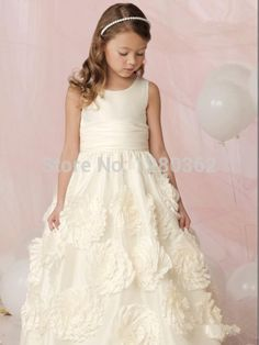 2015 Sleeveless Wedding Affordable Flower Girls Dress White Full length A-line Skirt New