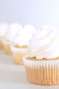 The perfect wedding cupcake is here! Beautifully white, rich and thick, and like having the real cake in a tiny cup. Check out this easy recipe and add it to your collection! Wedding Cupcake Recipes, White Wedding Cupcakes, Wedding White, White Cupcakes, Wedding Cakes, Cupcake Wedding, White Weddings, Yummy Cupcakes, Indian Weddings