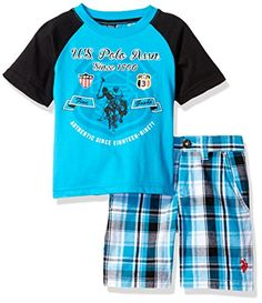 US Polo Assn Little Boys Screen Printed Graphic TShirt Short Set Plaid 4T *** Check out this great product.Note:It is affiliate link to Amazon. #unitedstates