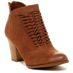 Fergalicious Chelly Bootie (£35) ❤ liked on Polyvore featuring shoes, boots, ankle booties, tan, block heel boots, back zip boots, almond toe booties, back zip ankle boots and bootie boots