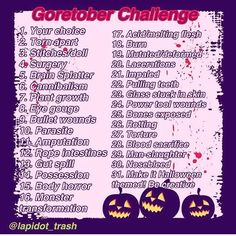 I think I'll be doing this one too, agh I love Halloween so much this #goretober2016 is by @lapidot_trash #trashgorechallenge