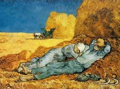 "Noon: Rest from Work after Jean-Francois Millet - Saint-Rémy: January, 1890 - The composition is taken from a drawing by Millet for Four Moments in the Day. Van Gogh often copied the works of Millet, whom he considered to be ""a more modern painter than Manet""."
